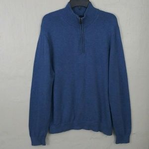 Brooks Brothers Blue 1/4 Zipper Pullover Sweater
